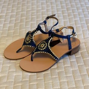 Jack Rogers Denim and gold heeled sandal